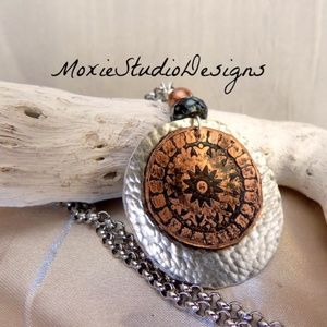 Hand Made Mixed Metal Mandala Necklace